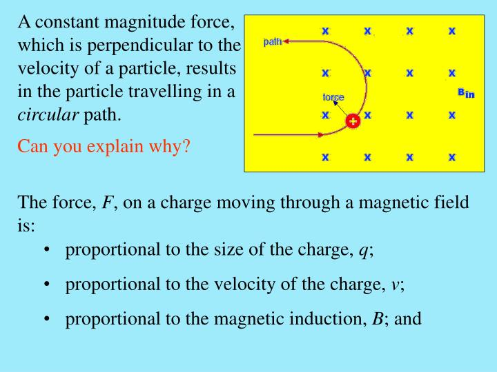 A constant magnitude force, which is perpendicular to the velocity of a particle, results in the particle travelling in a