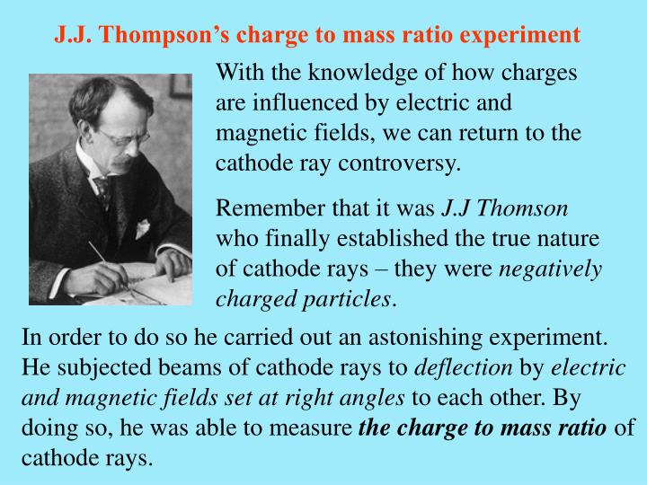 J.J. Thompson's charge to mass ratio experiment