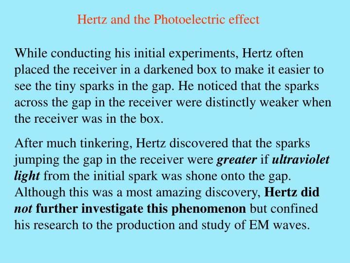 Hertz and the Photoelectric effect