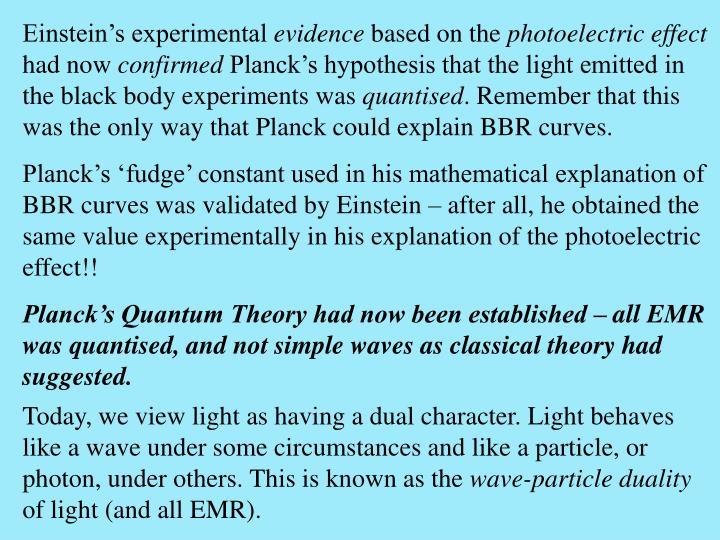 Einstein's experimental