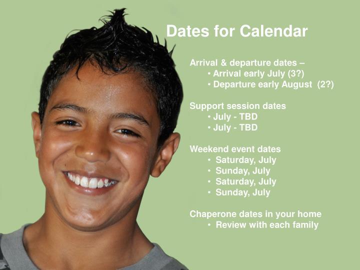 Dates for Calendar