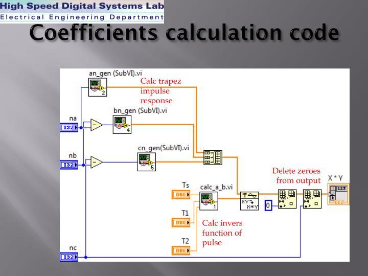 Coefficients calculation code