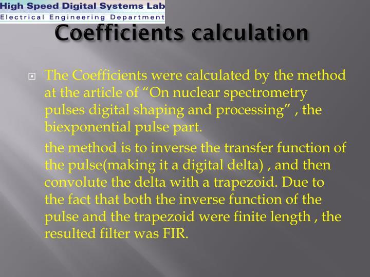 Coefficients calculation