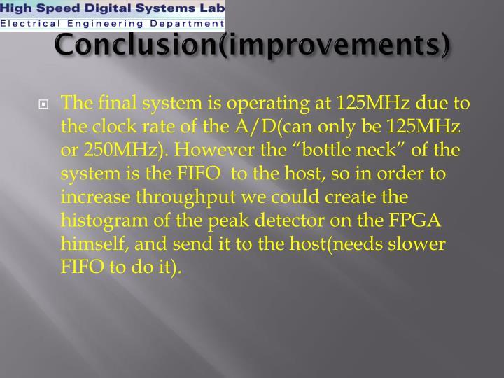 Conclusion(improvements)