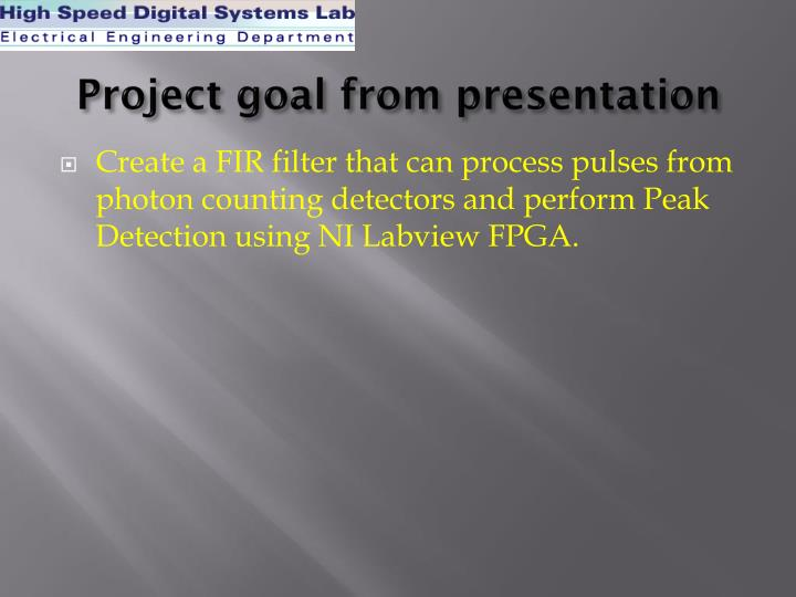 Project goal from presentation