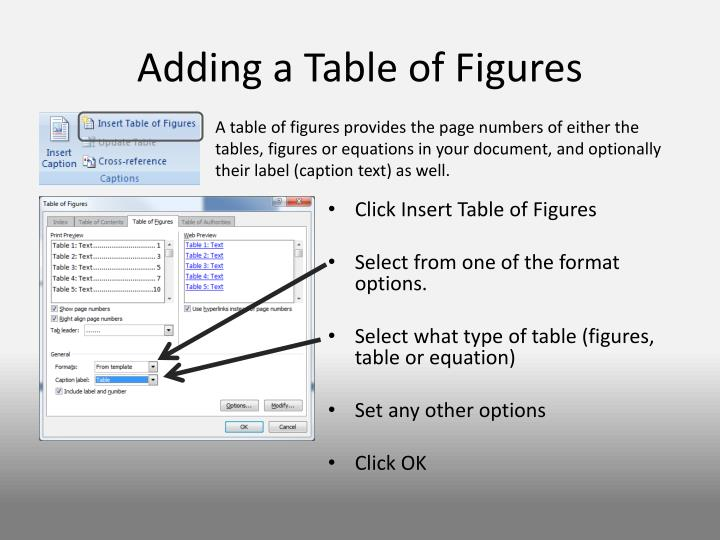 Adding a Table of Figures