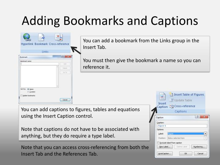 Adding Bookmarks and Captions