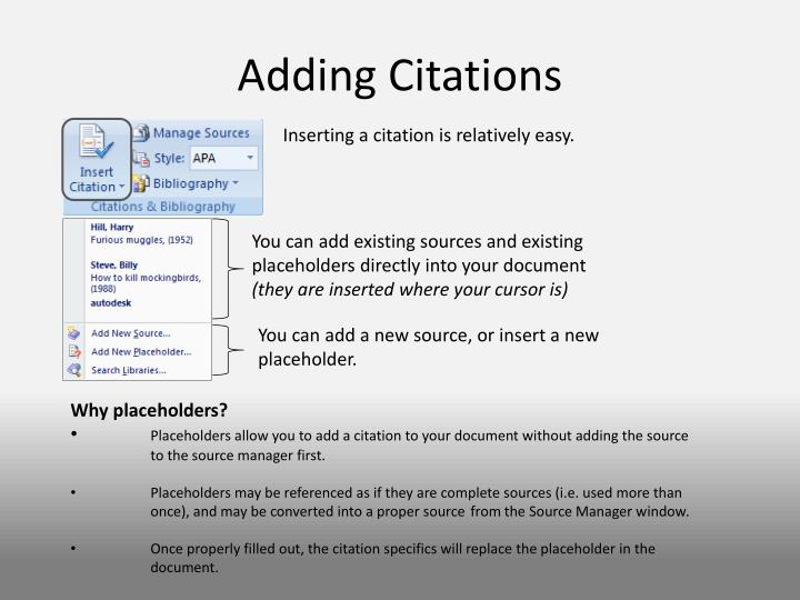 Adding Citations