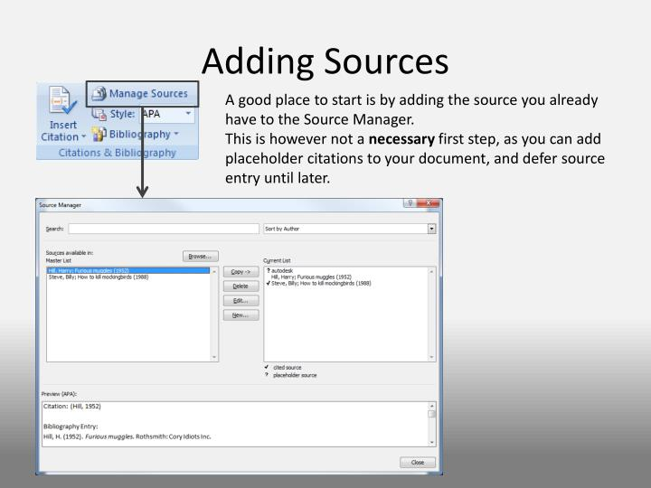 Adding Sources