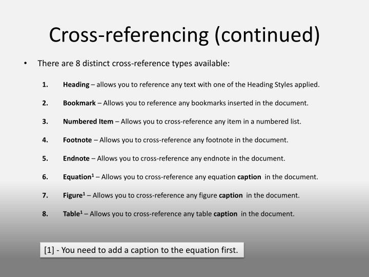 Cross-referencing (continued)