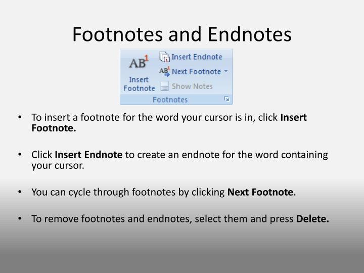 Footnotes and Endnotes