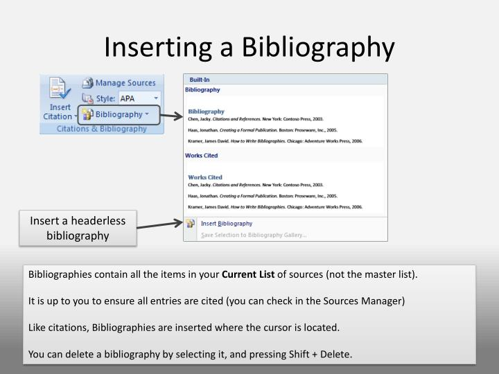 Inserting a Bibliography