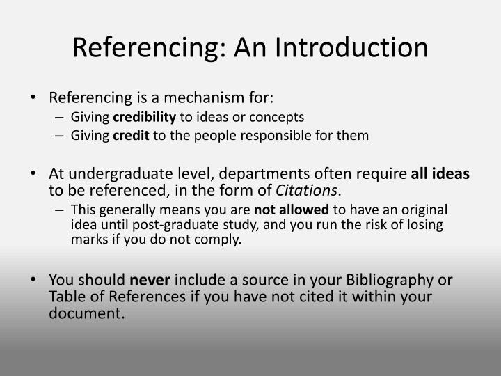 Referencing an introduction
