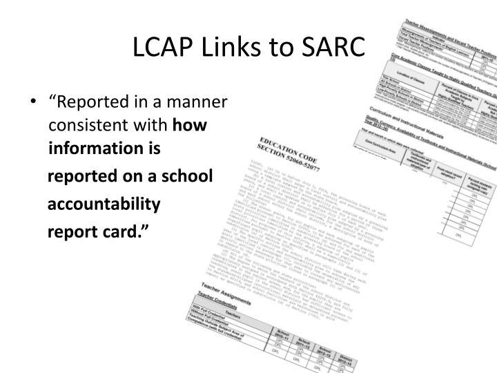 LCAP Links to SARC