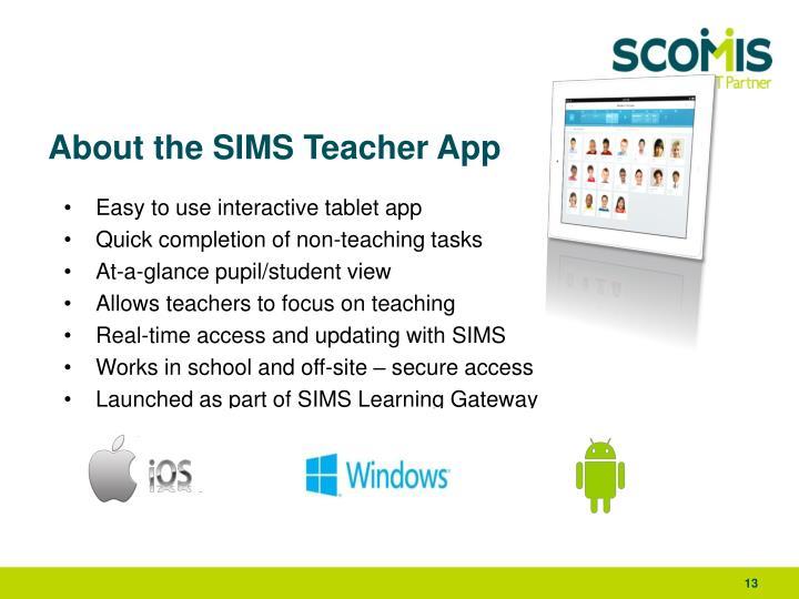 About the SIMS Teacher App