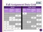 fall assignment data grid