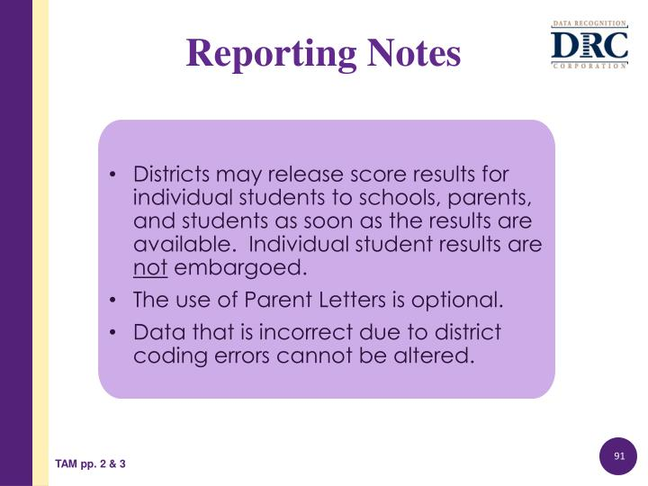 Districts may release score results for individual students to schools, parents, and students as soon as the results are available.  Individual student results are
