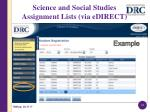 science and social studies assignment lists via edirect