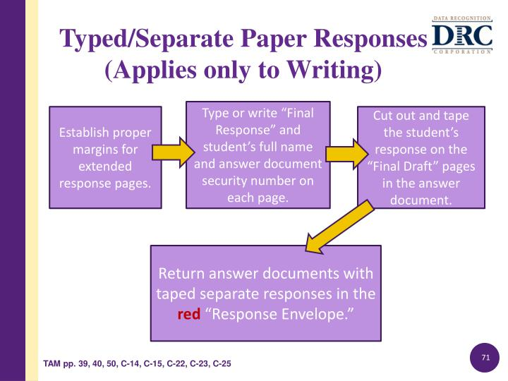 "Type or write ""Final Response"" and student's full name and answer document security number on each page."