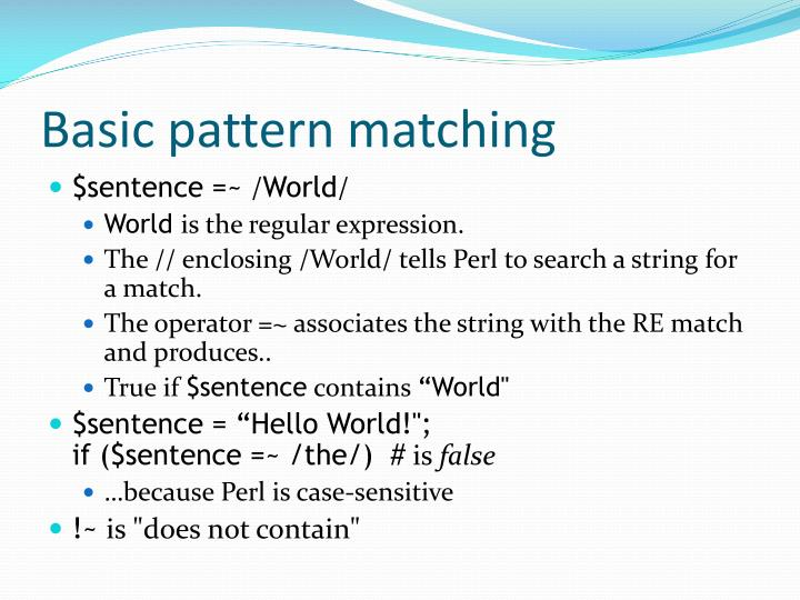 Basic pattern matching