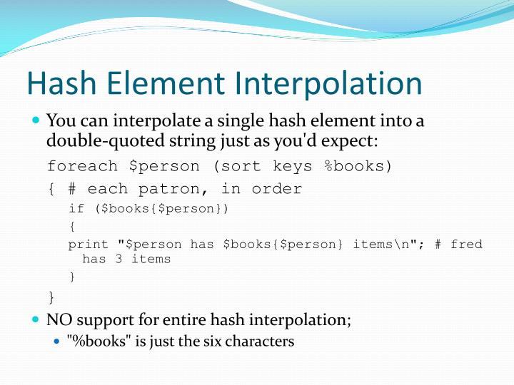 Hash Element Interpolation