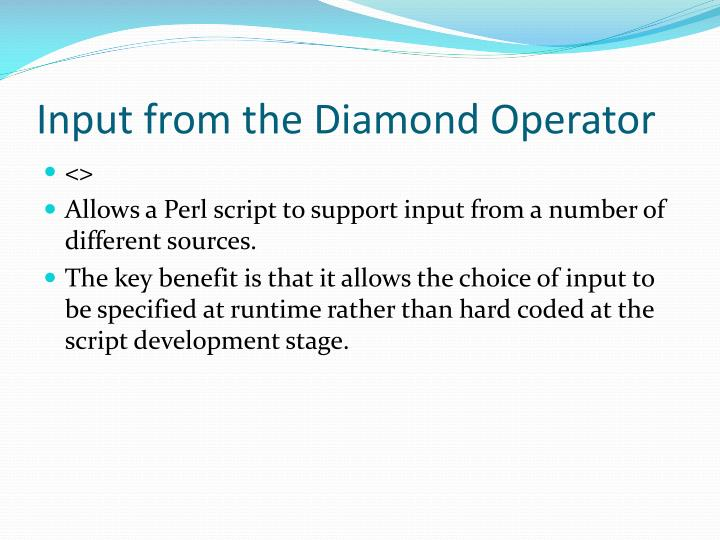 Input from the Diamond Operator