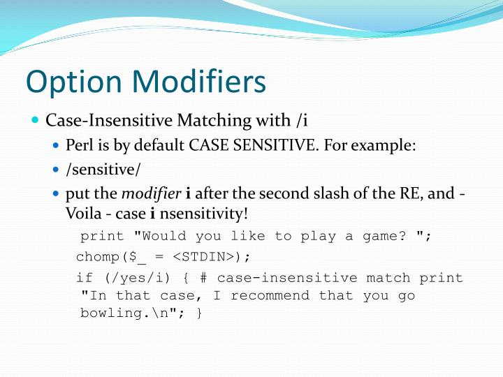 Option Modifiers