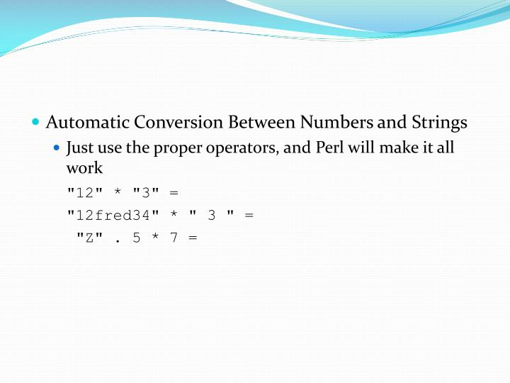 Automatic Conversion Between Numbers and Strings