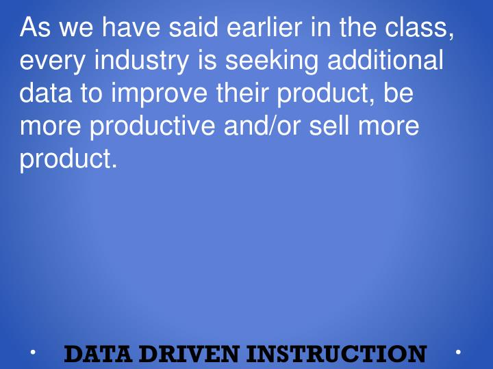 As we have said earlier in the class, every industry is seeking additional data to improve their product, be more productive and/or sell mor