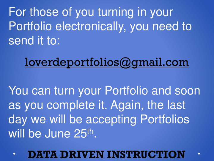 For those of you turning in your Portfolio electronically, you need to send it to: