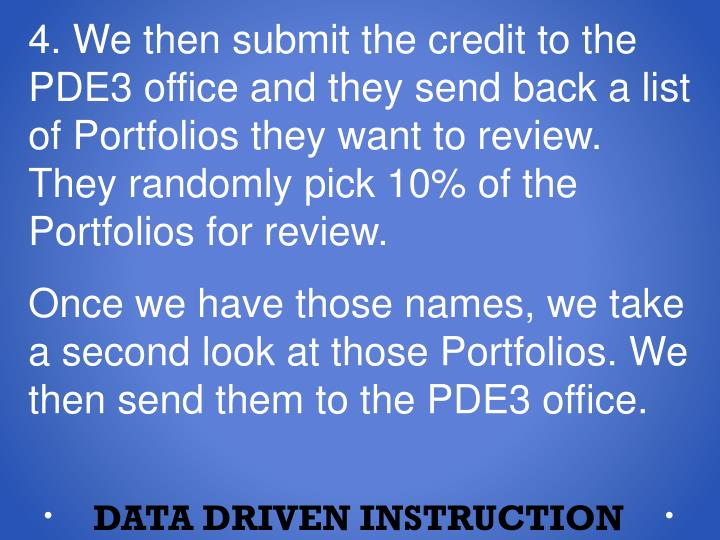 4. We then submit the credit to the PDE3 office and they send back a list of Portfolios they want to review. They randomly pick 10% of the Portfolios for review.