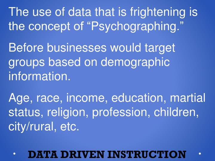 The use of data that is frightening is the concept of ""