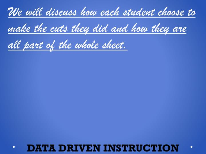 We will discuss how each student choose to make the cuts they did and how they are all part of the whole sheet.