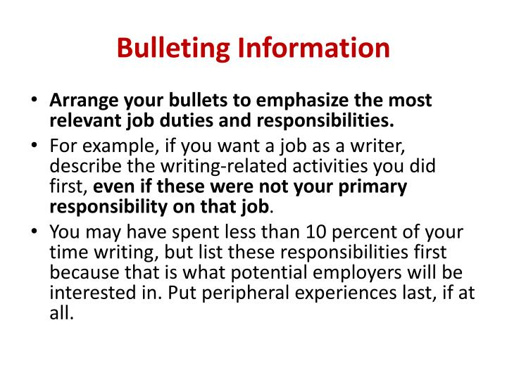 Bulleting Information