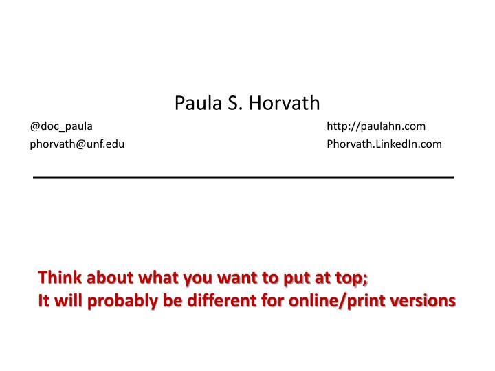 Paula S. Horvath