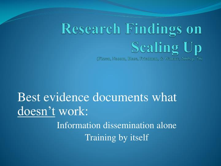 Research Findings on Scaling Up