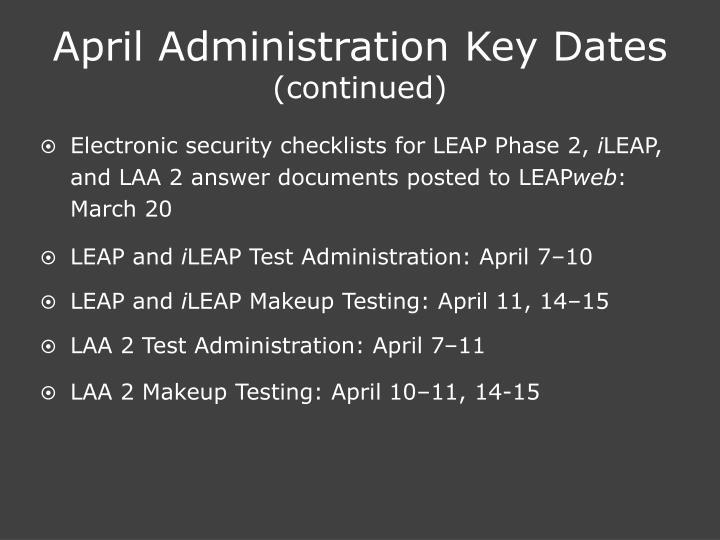 April Administration Key Dates