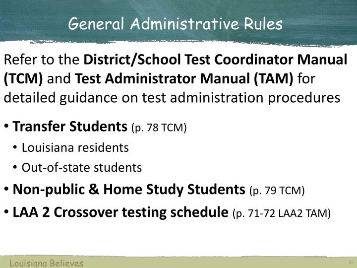 General Administrative Rules
