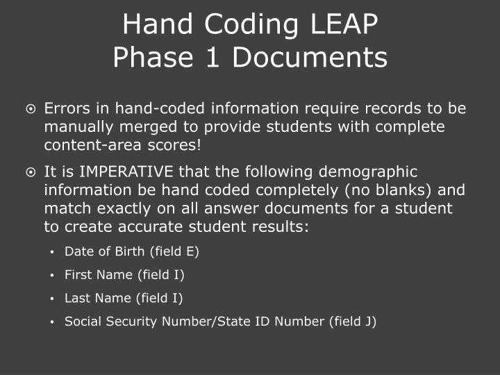 Hand Coding LEAP