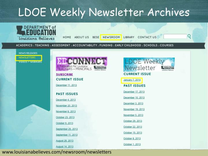 LDOE Weekly Newsletter Archives