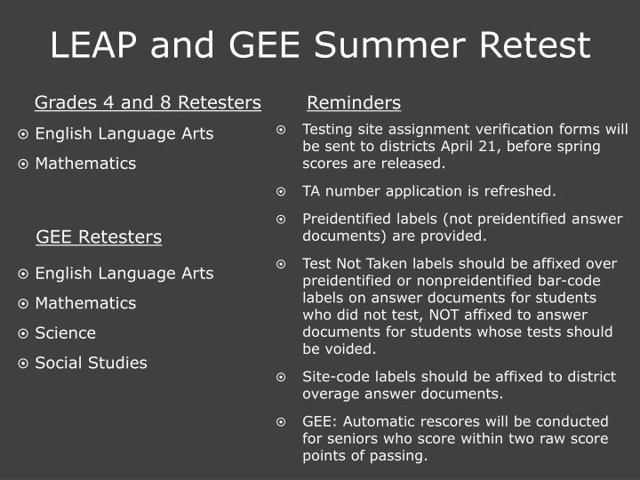 LEAP and GEE Summer Retest