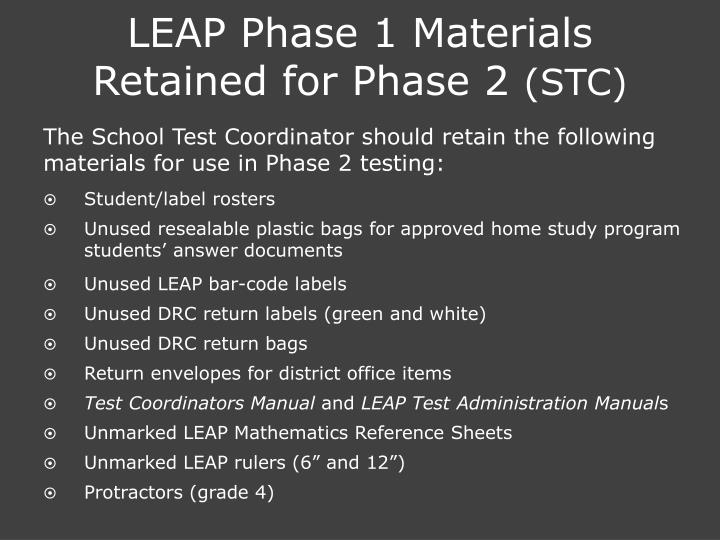 LEAP Phase 1 Materials