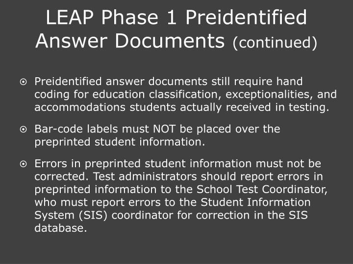 LEAP Phase 1 Preidentified