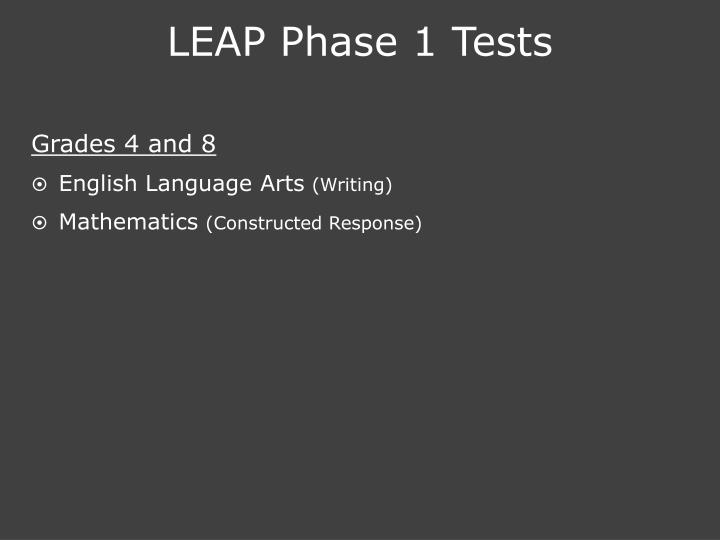 LEAP Phase 1 Tests