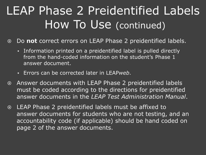 LEAP Phase 2 Preidentified Labels