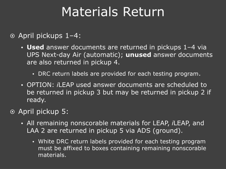 Materials Return