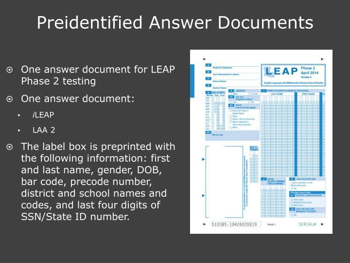 Preidentified Answer Documents