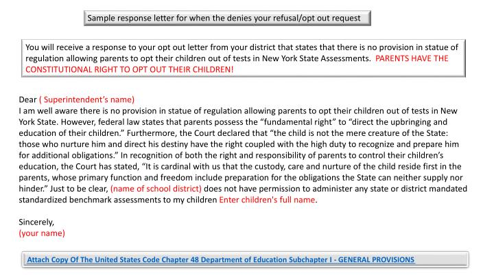 Sample response letter for when the denies your refusal/opt out request