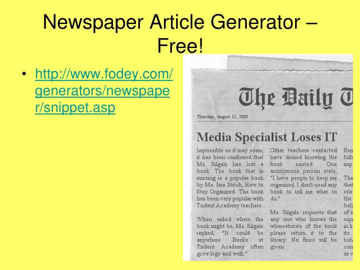 Newspaper Article Generator – Free!