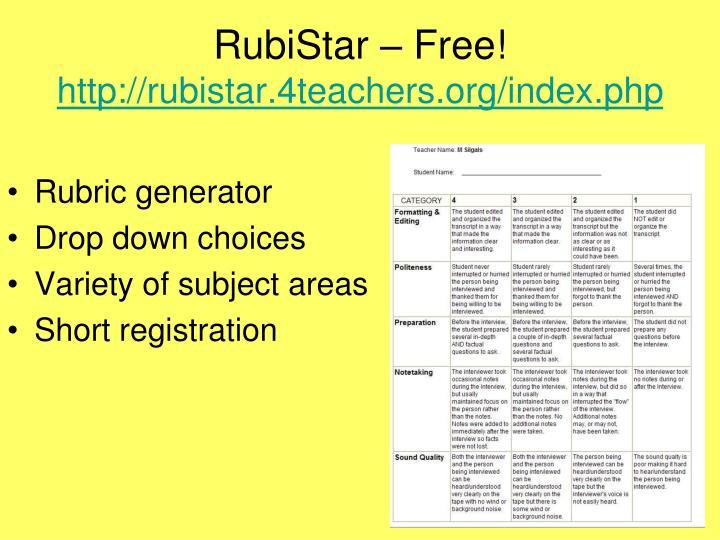 RubiStar – Free!